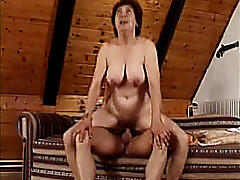Young guy fucks granny in her fat hairy twat